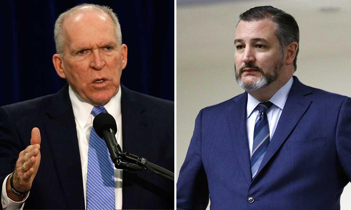 Cựu giám đốc CIA  John Brennan (trái) và thượng nghị sĩ Ted Cruz (phải). Ảnh: Reuters, AP.