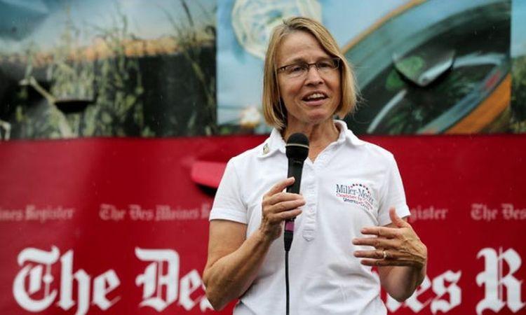 Mariannette Miller-Meeks phát biểu tại Hội chợ bang Iowa ngày 26/11. Ảnh: Register.