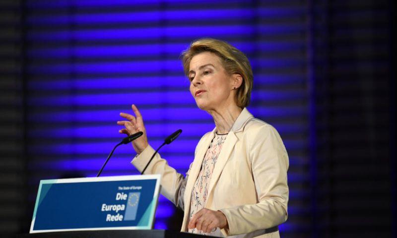 Chủ tịch Ủy ban châu Âu Ursula von der Leyen phát biểu về tình hình châu Âu hiện nay tại Berlin, Đức, ngày 8/11. Ảnh: Reuters.