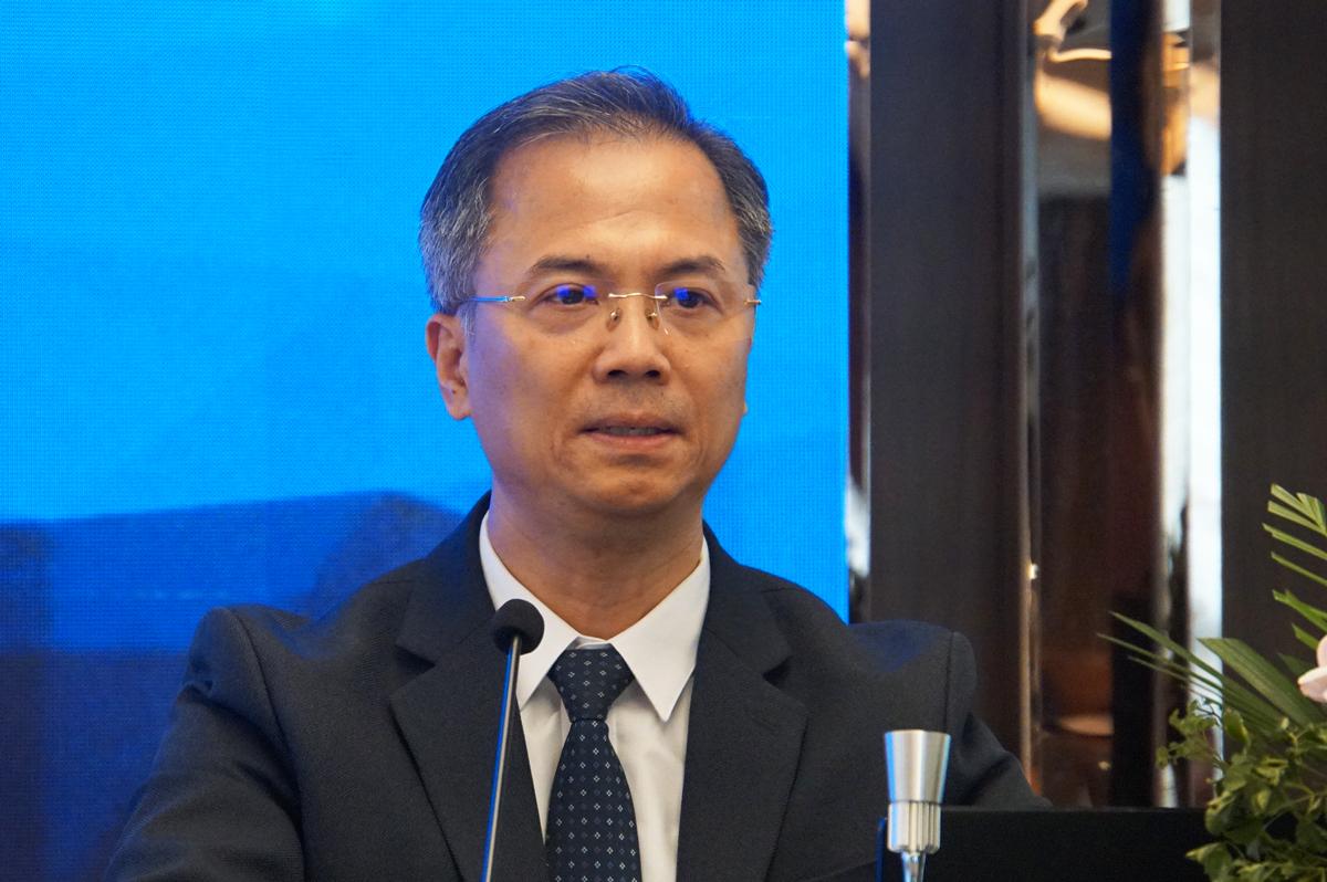 TS Đặng Xuân Thành, Phó chủ tịch Viện Hàn lâm khoa học xã hội Việt Nam tại hội thảo. Ảnh: Mạnh Tùng.