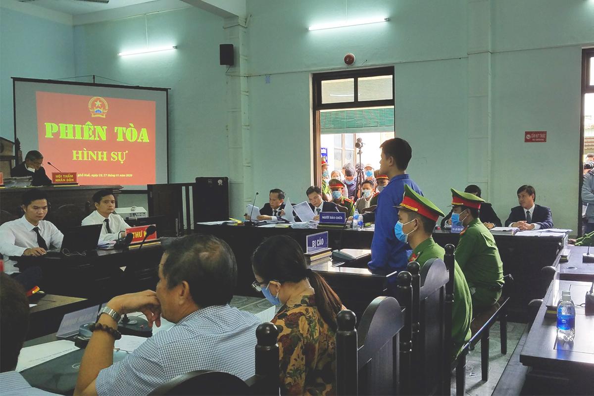 Lê Quang Huy Phương tại phiên tòa. Ảnh: Võ Thạnh