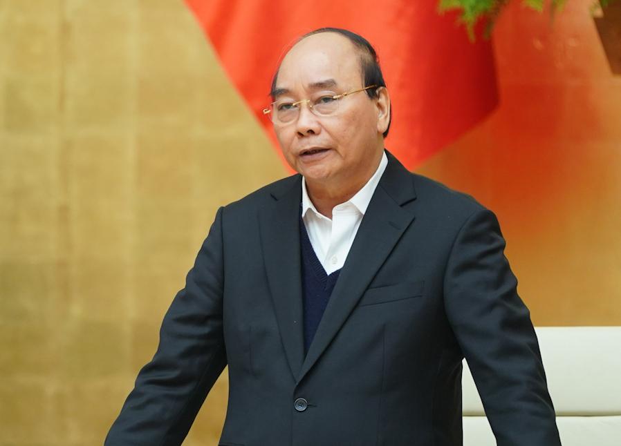 Thủ tướng Nguyễn Xuân Phúc chủ trì họp Thường trực Chính phủ về phòng chống Covid-19, chiều 1/12. Ảnh: VGP