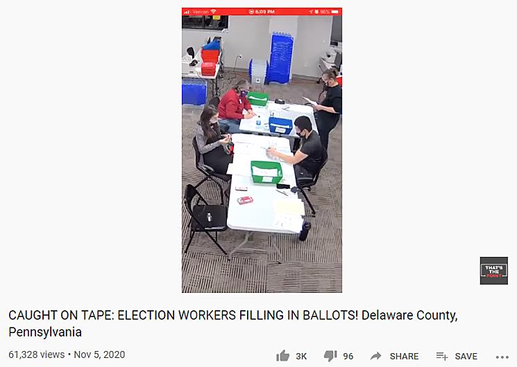 Video cáo buộc nhân viên bầu cử Pennsylvania tự điền lá phiếu. Ảnh chụp màn hình.