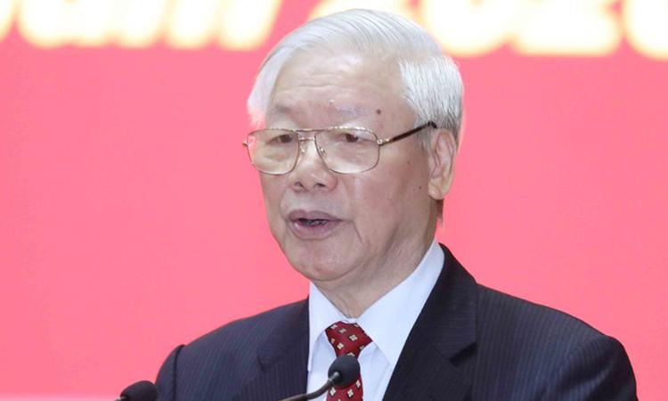 Tổng bí thư, Chủ tịch nước Nguyễn Phú Trọng phát biểu tại hội nghị cán bộ toàn quốc  tổng kết Đại hội đảng bộ các cấp nhiệm kỳ 2020-2025 hôm 19/11. Ảnh: TTXVN.