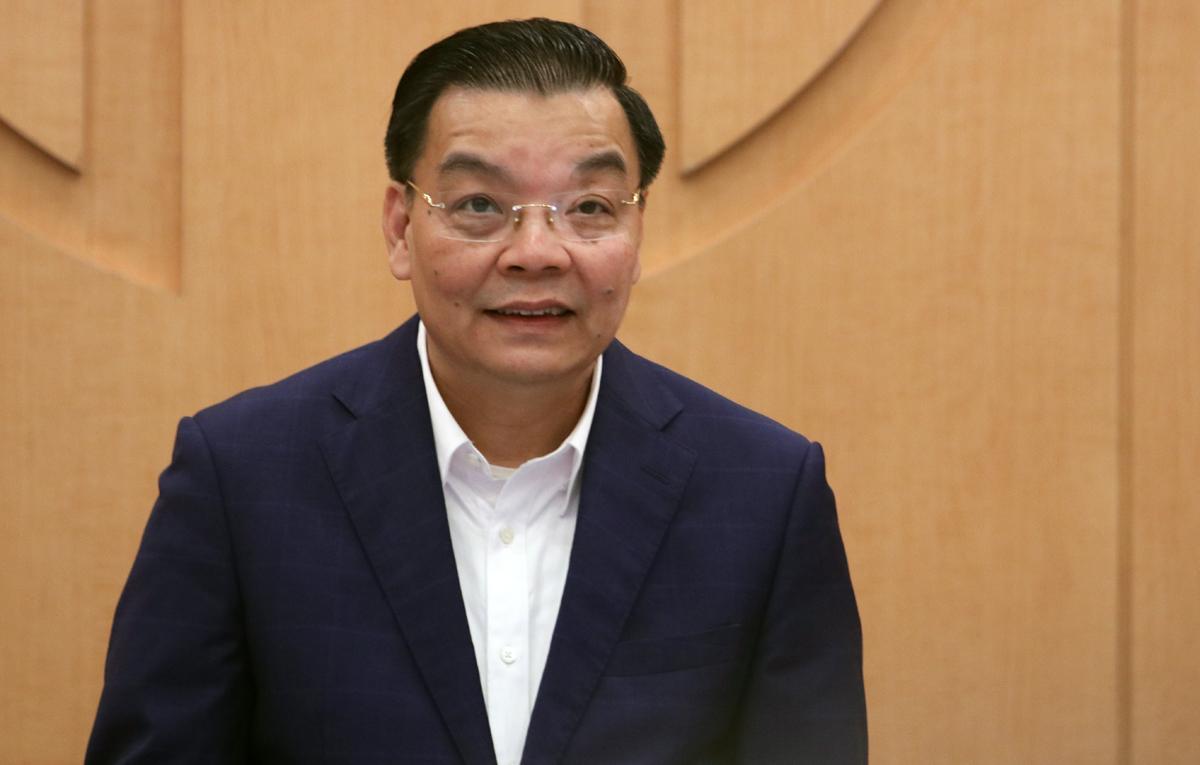 Chủ tịch UBND TP Hà Nội Chu Ngọc Anh tại cuộc họp Ban chỉ đạo phòng, chống dịch Covid 19 chiều 2/12. Ảnh: Võ Hải.