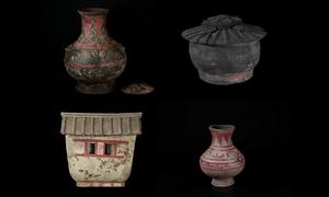 Đồ gốm sơn màu 2.000 năm tuổi dưới nghĩa địa cổ