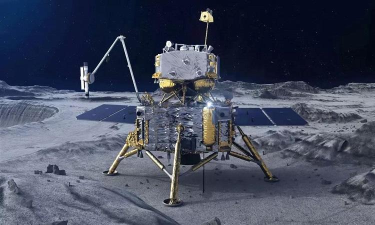 Mô phỏng trạm đổ bộ của tàu Hằng Nga 5 hoạt động trên Mặt Trăng. Ảnh: CGTN.