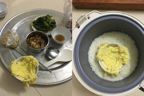 Vợ đánh trứng hơi quá tay, chiếc bát quá nhỏ nên khi vừa cho vào hấp, cơm sôi và trứng tràn ra ngoài.