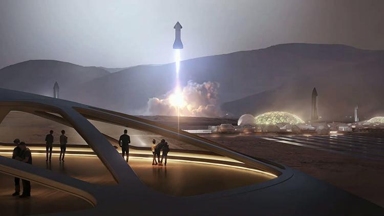 Mô phỏng tàu Starship và thành phố trên sao Hỏa. Ảnh: SpaceX.