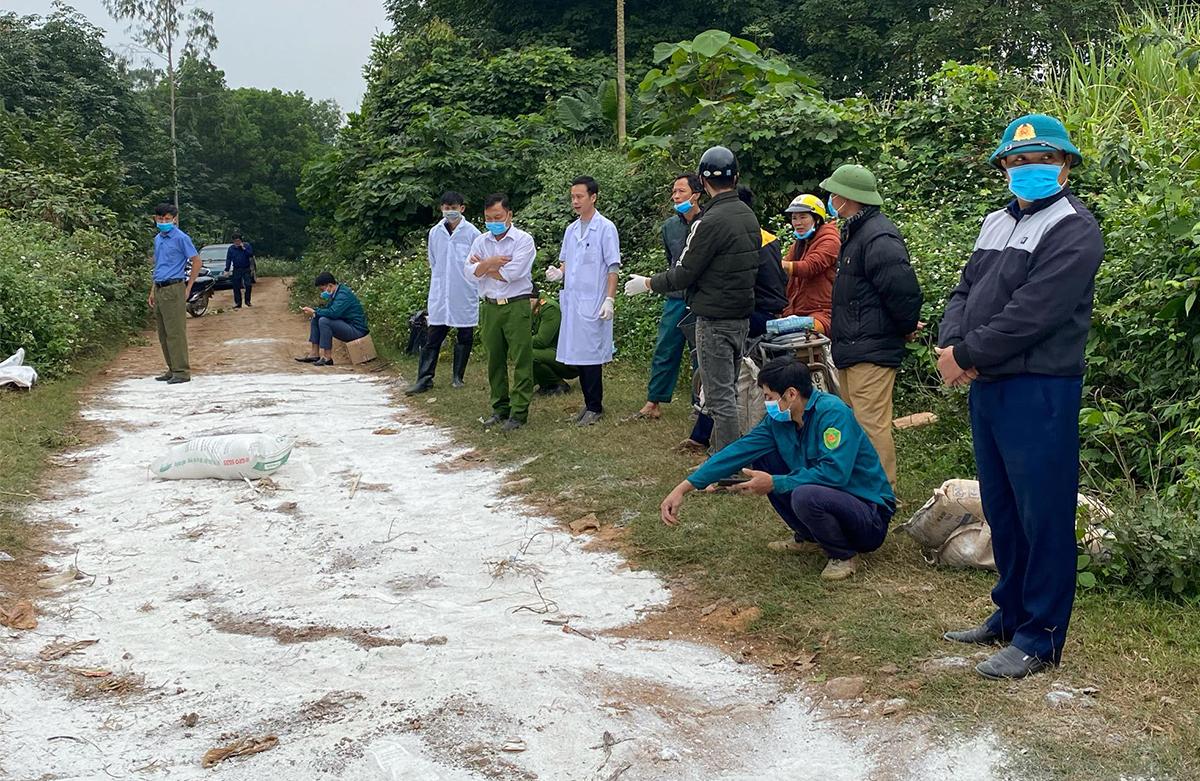 Cơ quan chức năng xử lý môi trường tại nơi phát hiện vụ vứt lợn. Ảnh: Minh Thái