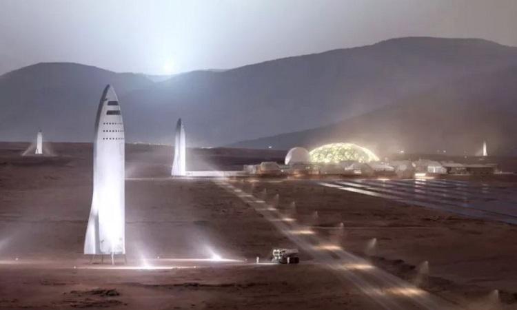 Mô phỏng tàu Starship đậu trên bề mặt sao Hỏa. Ảnh: SpaceX.