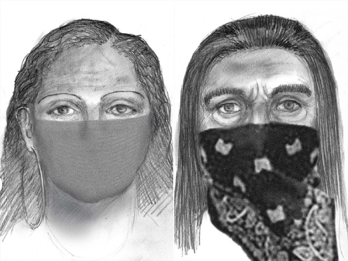 Bản phác thảo chân dung hai kẻ bắt cóc nữ giới. Ảnh: FBI.