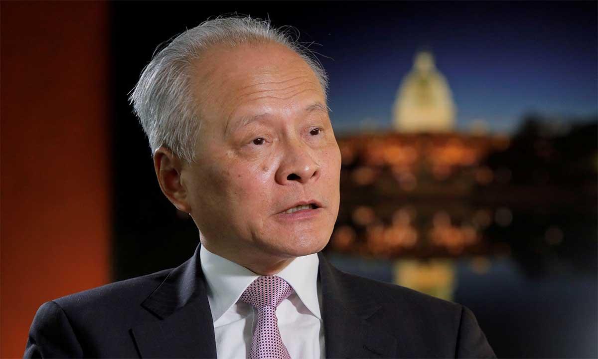 Đại sứ Trung Quốc tại Mỹ Thôi Thiên Khải trong buổi trả lời phỏng vấn hãng Reuters, ngày 6/11. Ảnh: Reuters.