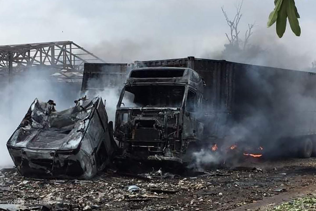 Hiện trường vụ cháy khiến 3 người tử vong, 6 bị thương. Ảnh: Quang Hà
