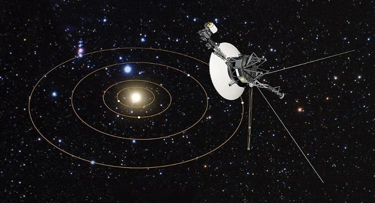 Mô phỏng tàu Voyager 2 bay ra ngoài hệ Mặt Trời. Ảnh: NASA/ESA.