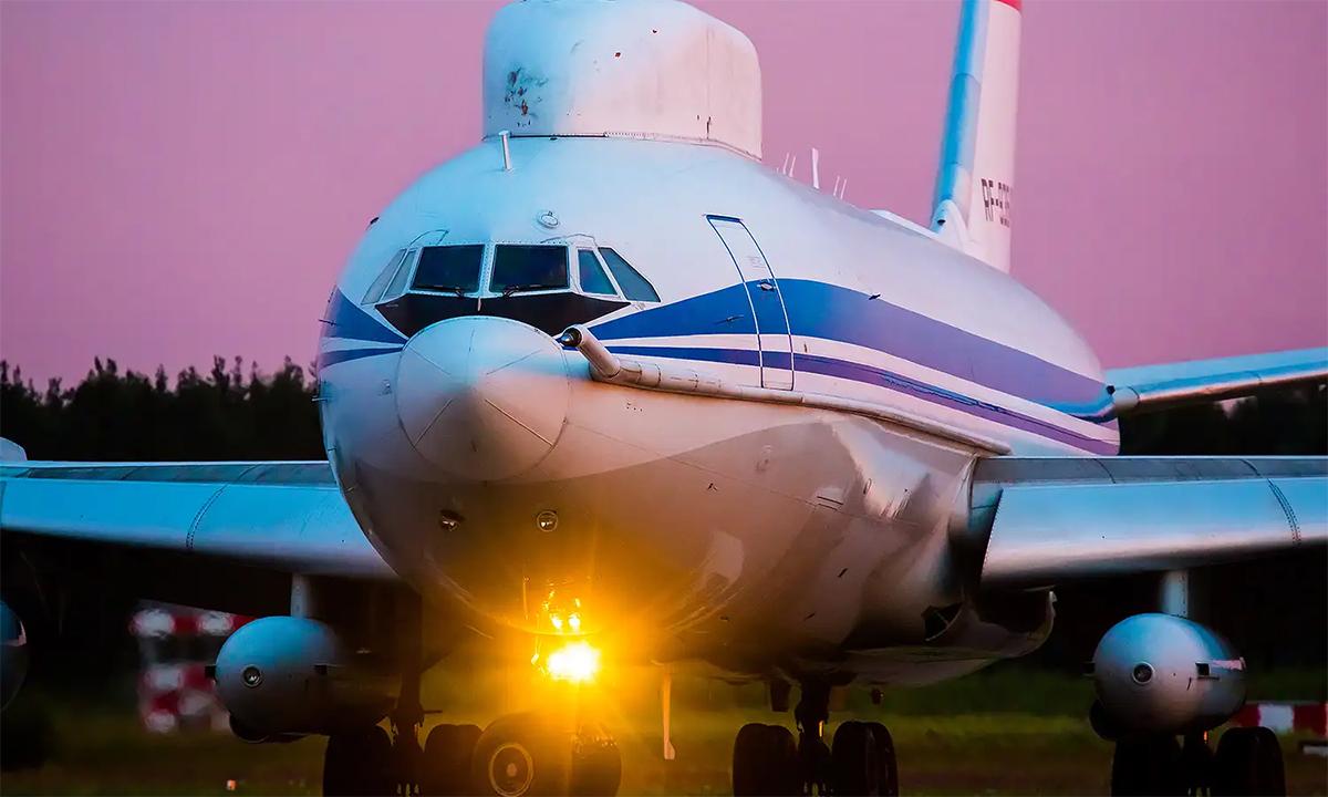 Máy bay chỉ huy trên không Il-80 hạ cánh xuống sân bay Chkalovsky, Moskva, Nga, tháng 8/2017. Ảnh: RussianPlanes.