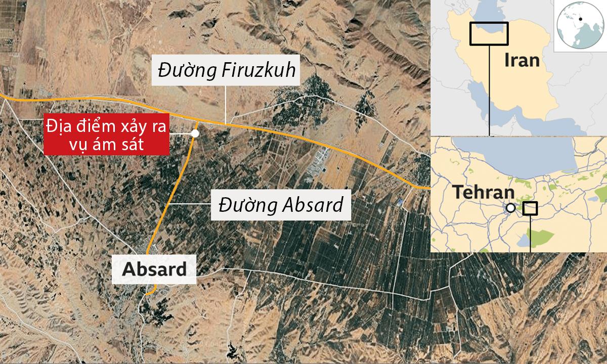 Vị trí xảy ra vụ ám sát chuyên gia hạt nhân Iran Mohsen Fakhrizadeh. Đồ họa: Google, BBC.