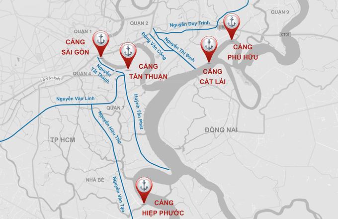 Nguồn thu phí hạ tầng cảng biển sẽ được dùng đầu tư xây dựng giảm ùn tắc ở những trục đường gần các cảng trên địa bàn TP HCM. Đồ họa: Thanh Huyền.