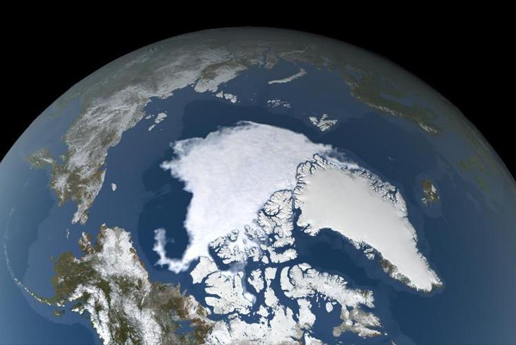 Băng biển Bắc Cực mùa hè năm nay ở mức ít thứ hai lịch sử. Ảnh: Trent Schindler/NASA Scientific Visualization Studio.