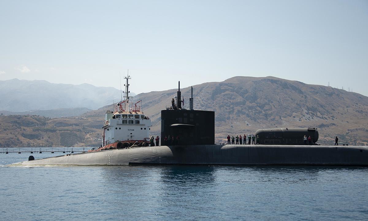 Tàu ngầm USS Florida tại vịnh Souda, Hy Lạp, tháng 9/2019. Ảnh: US Navy/.
