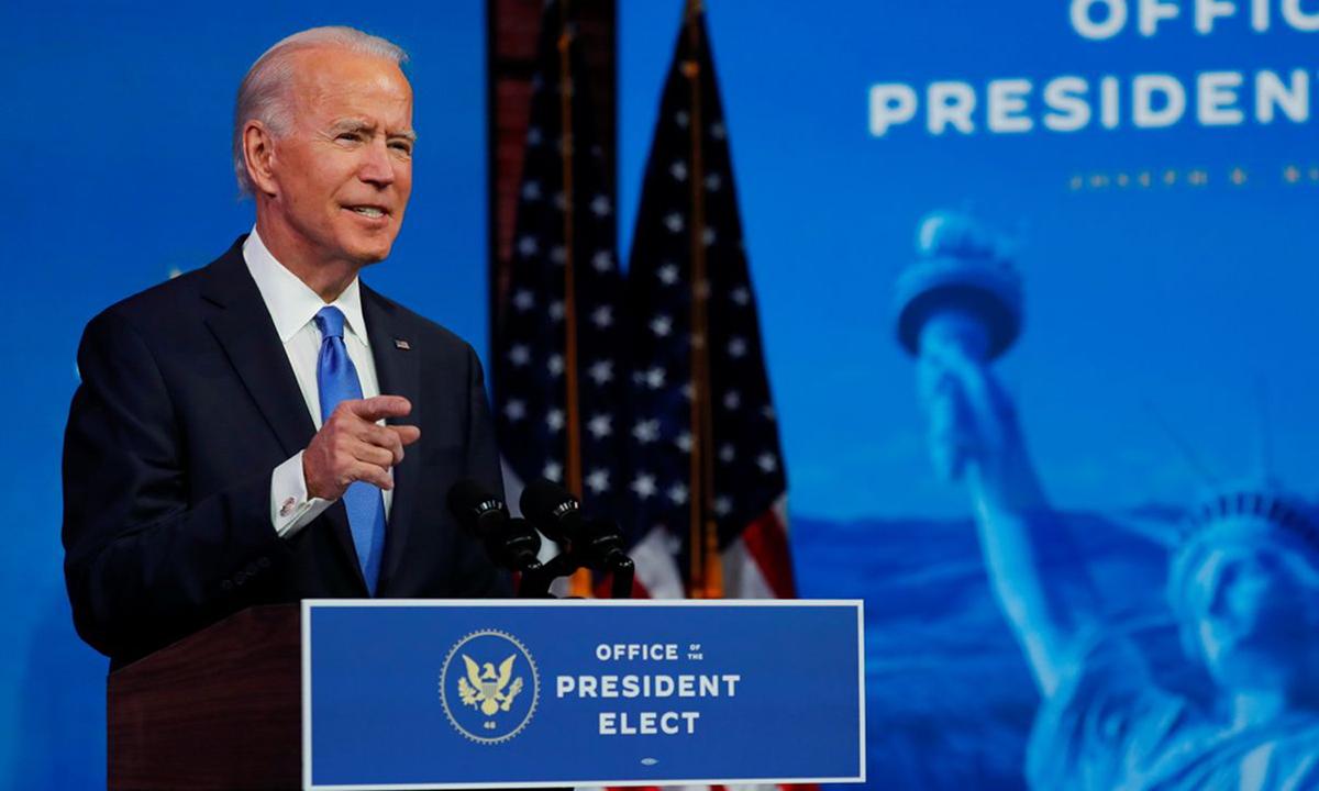 Joe Biden phát biểu chiến thắng tại thành phố Wilmington, bang Delaware, hôm 14/12. Ảnh: Reuters.
