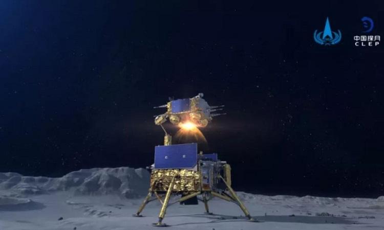 Mô phỏng trạm đổ bộ Hằng Nga 5 trên bề mặt Mặt Trăng. Ảnh: CNSA.