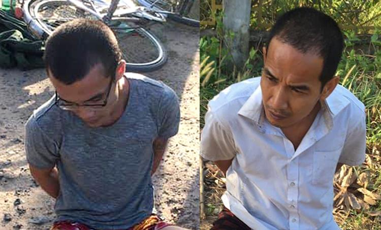 Lộc (trái) và Thuận lúc bị bắt giữ. Ảnh: Công an cung cấp.
