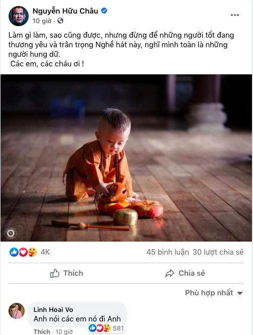 Bài đăng của nghệ sĩ Hữu Châu và Hoài Linh dặn dò các đàn em trẻ giữ bình tĩnh.