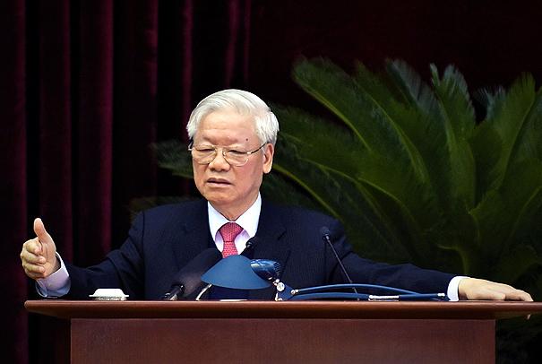 Tổng bí thư, Chủ tịch nước Nguyễn Phú Trọng phát biểu bế mạc hội nghị Trung ương 14, khóa XII, sáng 18/12. Ảnh: VGP
