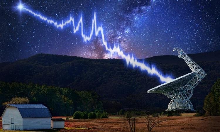 Mô phỏng chớp sóng vô tuyến phát ra từ dải Ngân Hà. Ảnh:CNN.