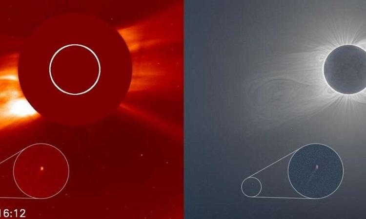 Sao chổi C/2020 X3 xuất hiện như một chấm nhỏ gần Mặt Trời. Ảnh: SOHO.