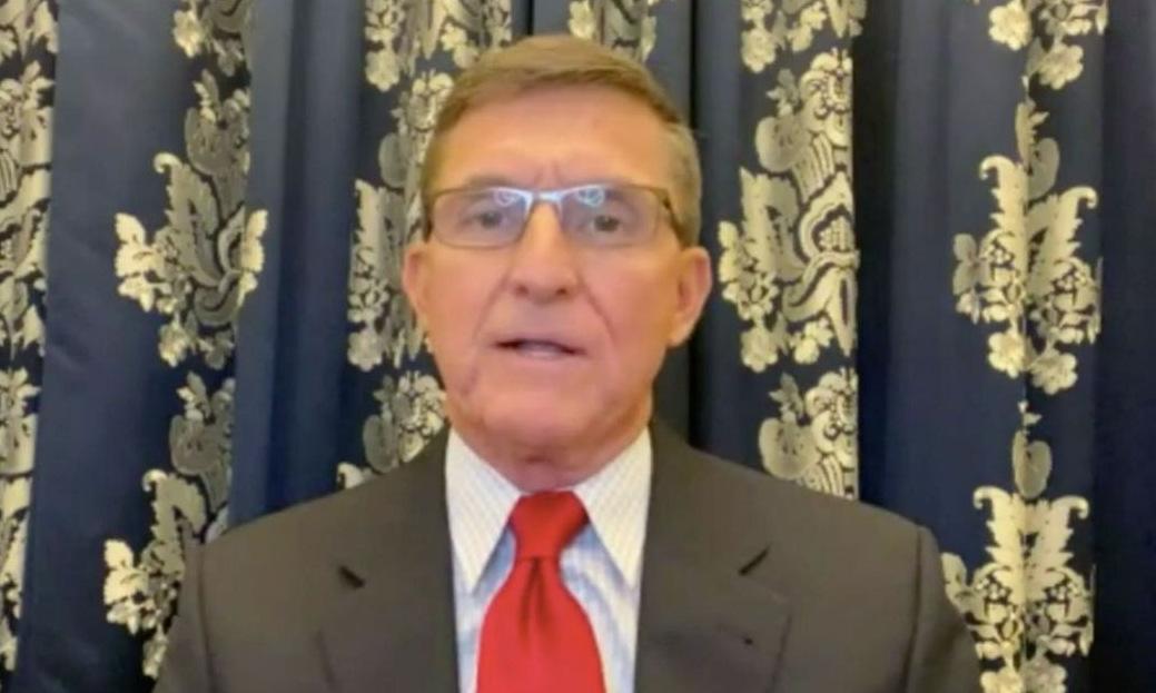 Michael Flynn trong cuộc phỏng vấn hôm 18/12. Ảnh: Newsmax.