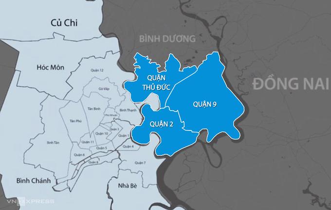 TP Thủ Đức thành lập trên cơ sở sáp nhập 3 quận 2, 9 và Thủ Đức. Đồ hoạ:Thanh Huyền.