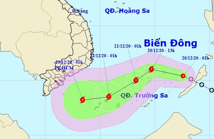 Đường đi của áp thấp nhiệt đới theo dự báo của Trung tâm dự báo khí tượng thủy văn quốc gia, sáng 20/12. Ảnh: NCHMF.