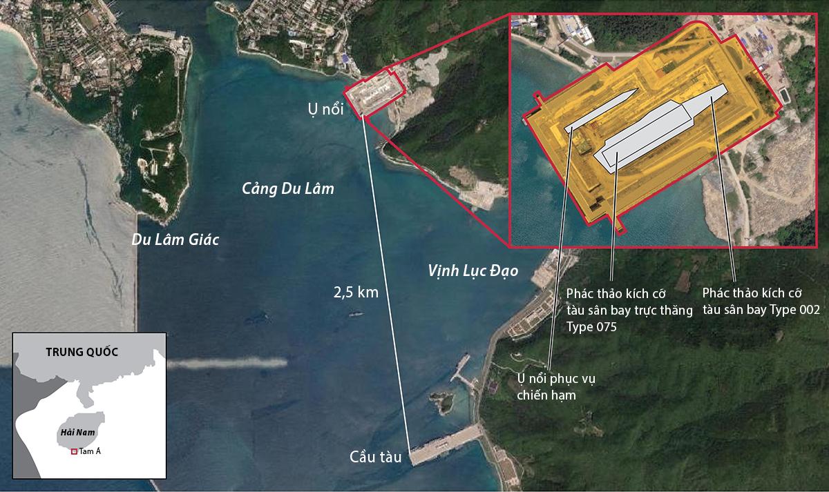 Ụ nổi cỡ lớn có thể phục vụ tàu sân bay Type 002 ở căn cứ hải quân Du Lâm, Trung Quốc. Đồ họa: Earth Explorer, SCMP.