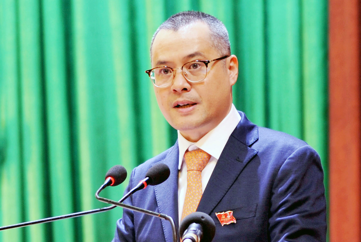 Ông Phạm Đại Dương tại Đại hội Đảng bộ tỉnh Phú Yên khóa XVII, ngày 15/10. Ảnh: Tấn Quang.