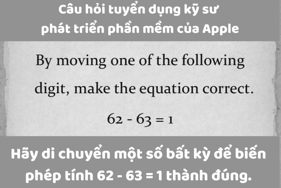 Di chuyển một số để phép tính 62-63 = 1 đúng
