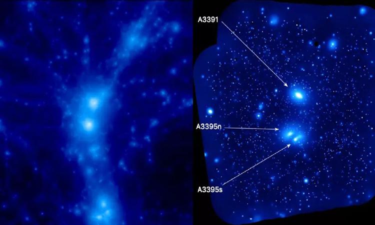 Ảnh chụp ba cụm thiên hà tạo nên siêu cấu trúc Abell 3391/95. Ảnh: Reiprich et al.