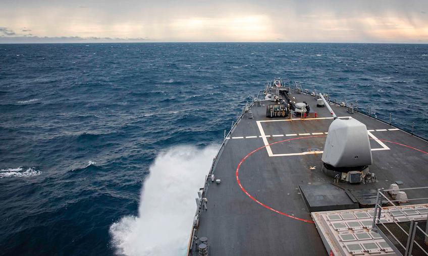 Tàu khu trục John McCain hoạt động tự do hàng hải tại Biển Đông hôm nay. Ảnh: U.S. 7th Fleet.