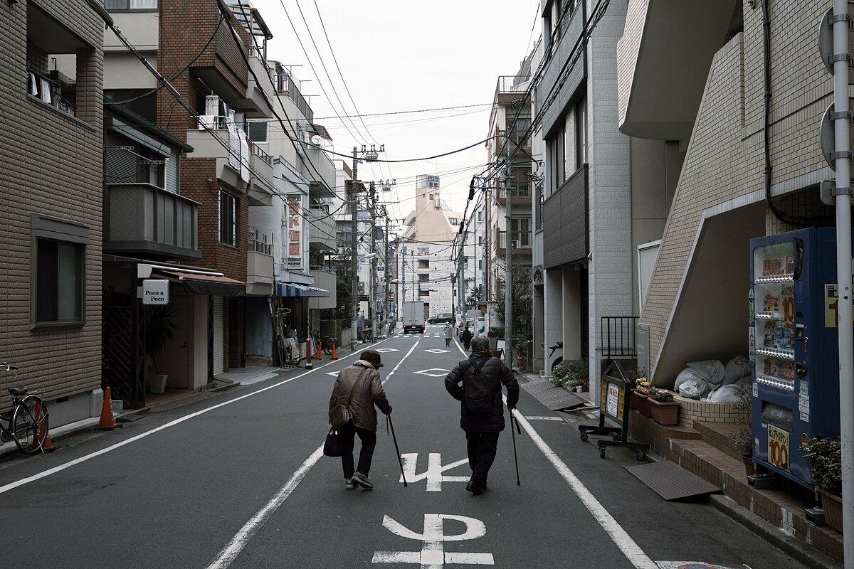 Hai người già ở quận Toshima, thủ đô Tokyo. Ảnh: Bloomberg.
