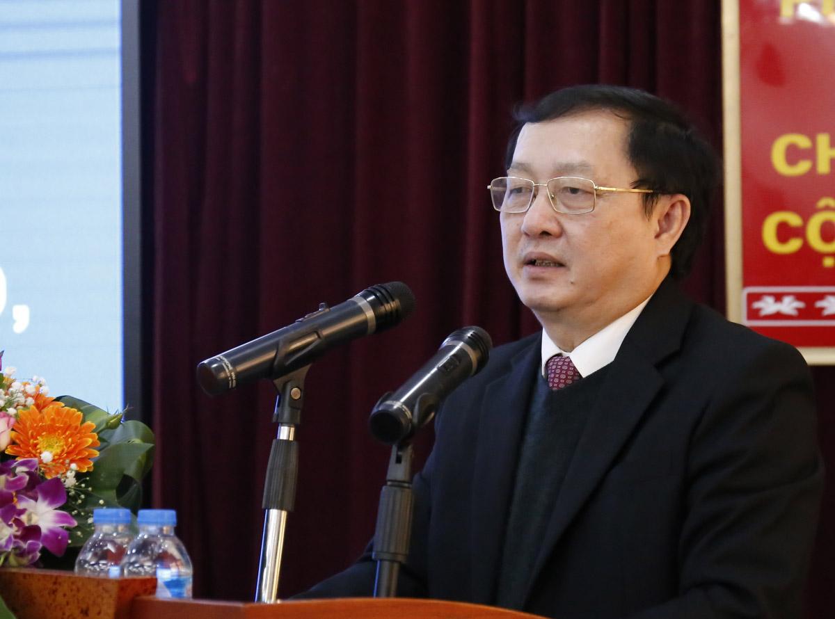 Bộ trưởng Khoa học và Công nghệ Huỳnh Thành Đạt phát biểu tại lễ tổng kết công tác năm 2020 của Cục Sở hữu trí tuệ. Ảnh: TA.