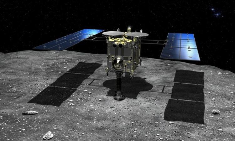 Το Hayabusa 2 εργάζεται στον διαστημικό σκάφος αστεροειδής Ryugu.  Φωτογραφία: Jaxa