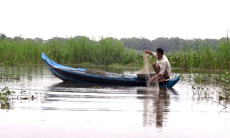 Ngư dân Leng Vann đánh bắt cá trên hồ Tonle Sap. Ảnh: AFP.