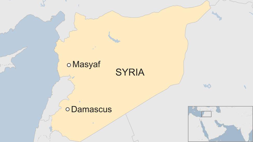 Vị trí khu vực Masyaf của Syria. Đồ họa: BBC.