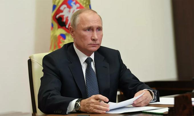Tổng thống Nga Vladimir Putin trong một cuộc hội đàm trực tuyến, ngày 20/11. Ảnh: RIA Novosti.