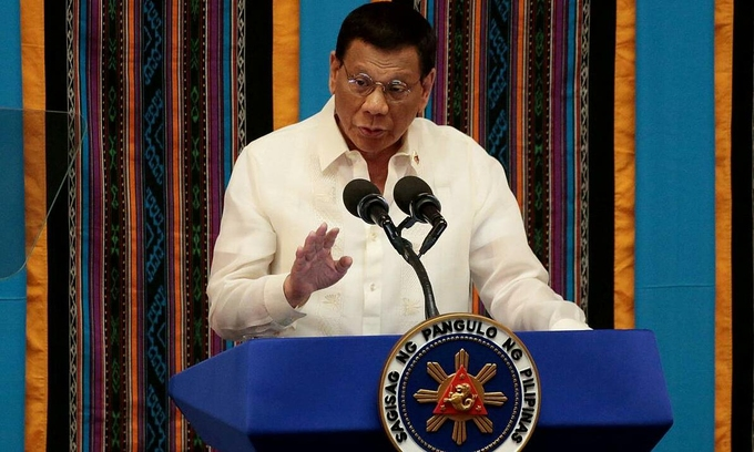 Tổng thống Philippines Duterte phát biểu tại Manila hồi tháng 7/2019. Ảnh: Reuters.