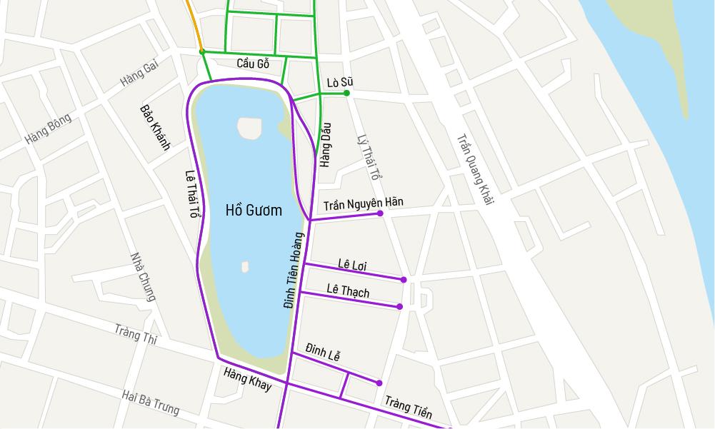 Tám tuyến phố và ba ngõ (màu xanh lá cây) trở thành không gian đi bộ từ ngày 1/1/2021. Đồ hoạ: Việt Chung.