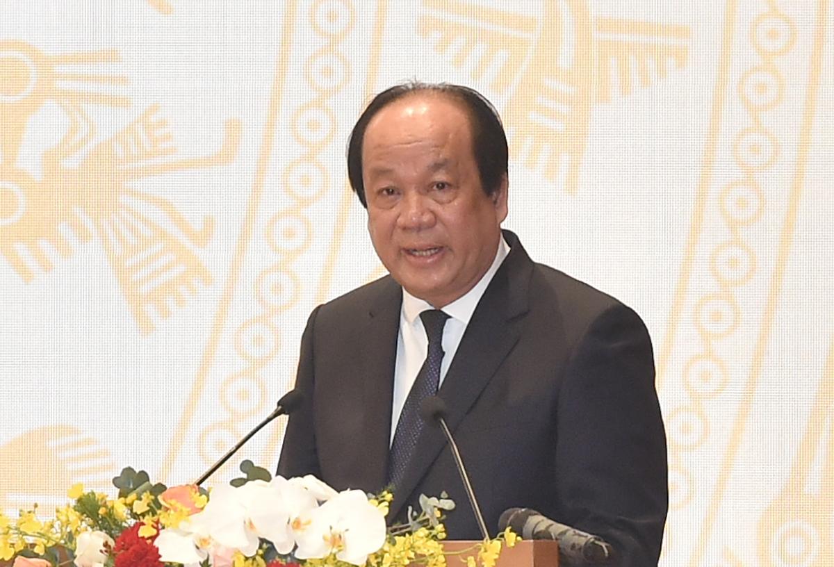 Bộ trưởng, Chủ nhiệm Văn phòng Chính phủ Mai Tiến Dũng phát biểu tại hội nghị Chính phủ với các địa phương, chiều 28/12. Ảnh: VGP