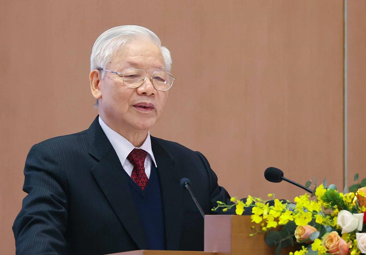 Tổng bí thư, Chủ tịch nước Nguyễn Phú Trọng phát biểu tại hội nghị Chính phủ với các địa phương, sáng 28/12. Ảnh: TTX