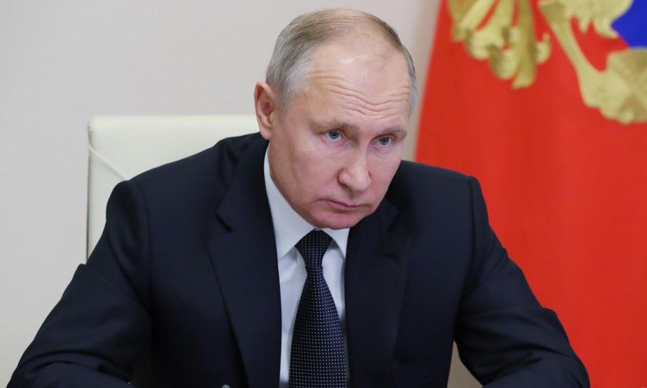 Tổng thống Nga Vladimir Putin tại một cuộc họp được tổ chức trực tuyến hôm 23/12. Ảnh: AFP.